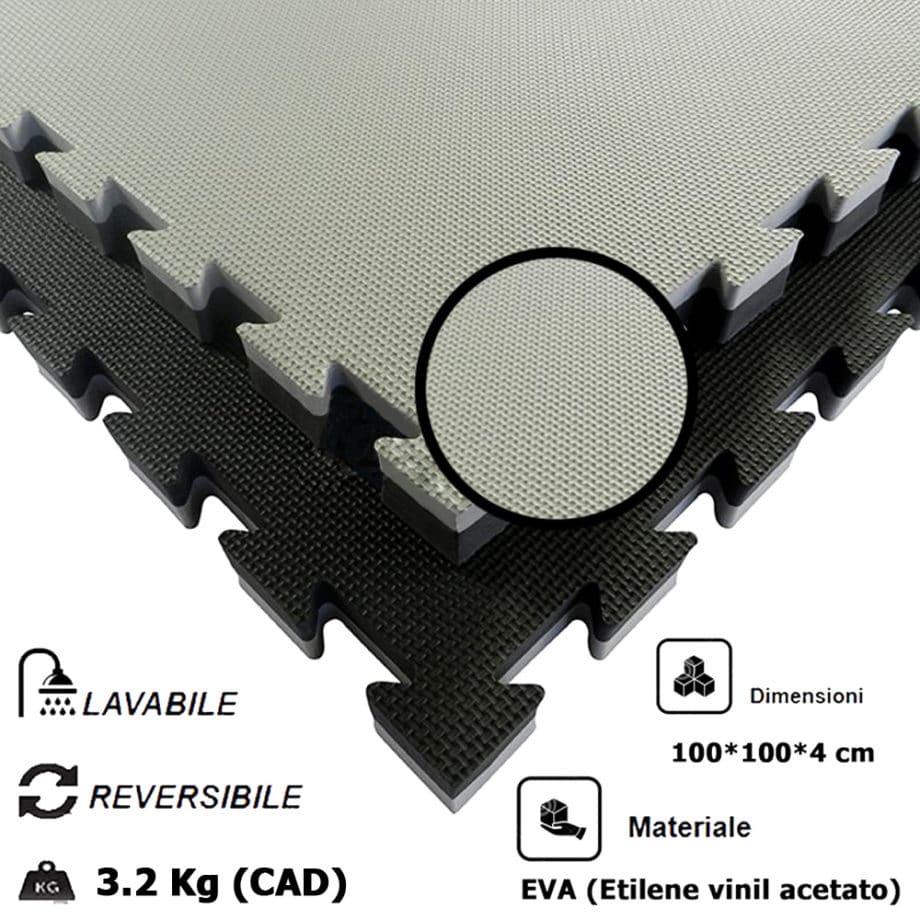 Tatami 4 cm Morbido in Eva 4 cornici Incluse densità 80kg/m³ Nero/Grigio