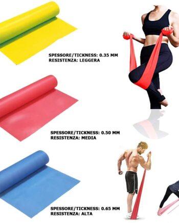 Bande Elastiche Fitness Alta qualità (3 Pezzi) 1.50 mt o 2.00 MT/ 3 Livelli di Resistenza